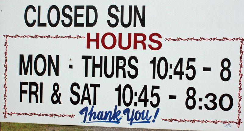 Chuckwagon Sign hours