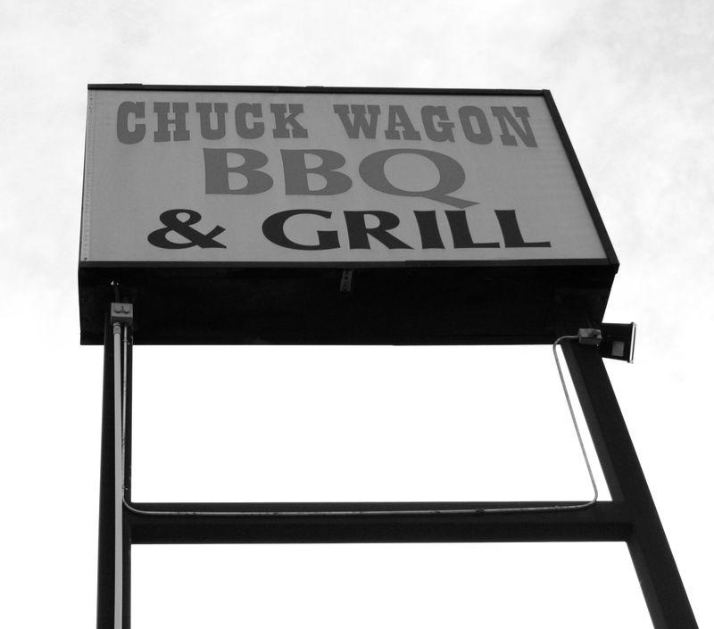 Chuckwagon sign bw