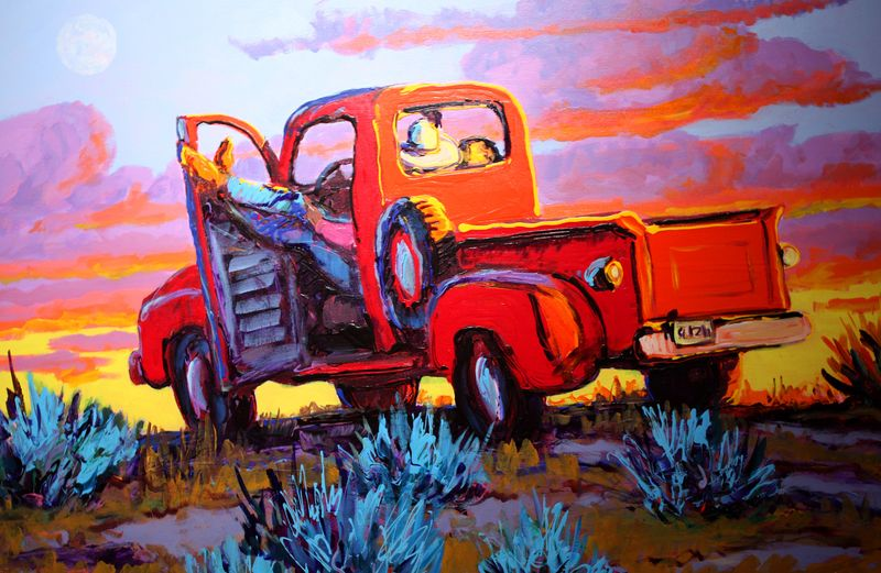Red pickup painting