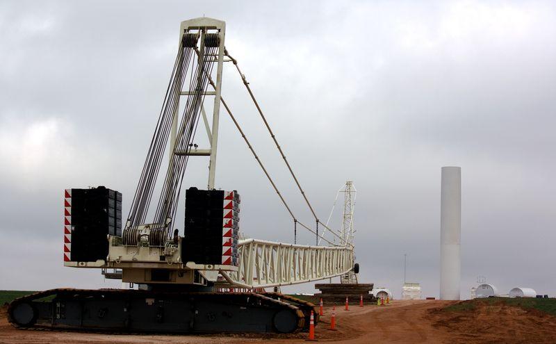 Big crane and Turbine near Putnam Oklahoma