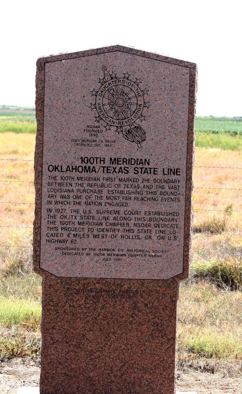 Hollis 100th Meridian Historical Marker