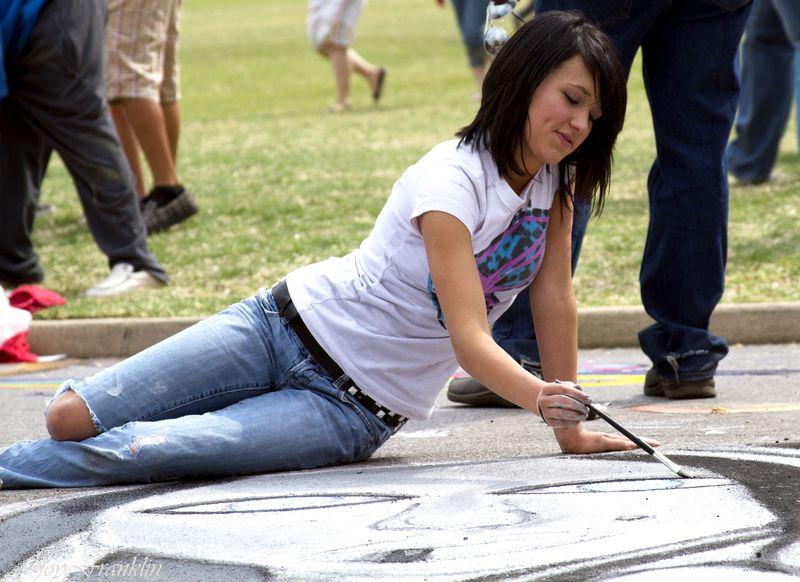 Girl Drawing Chalk Art