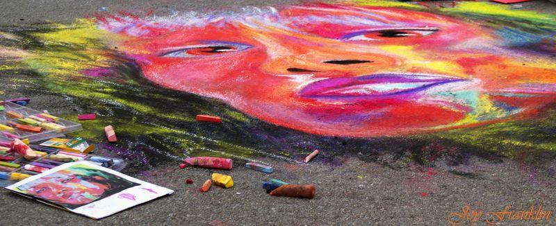 Colorful Woman Chalk Art