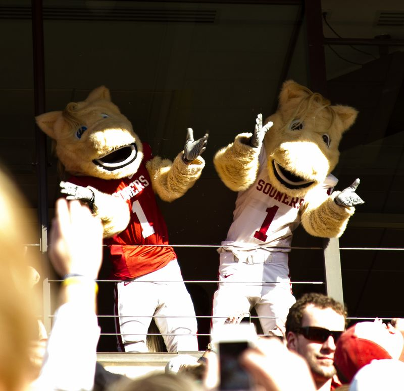 Football Game OU Mascot Crowd Surfing-206