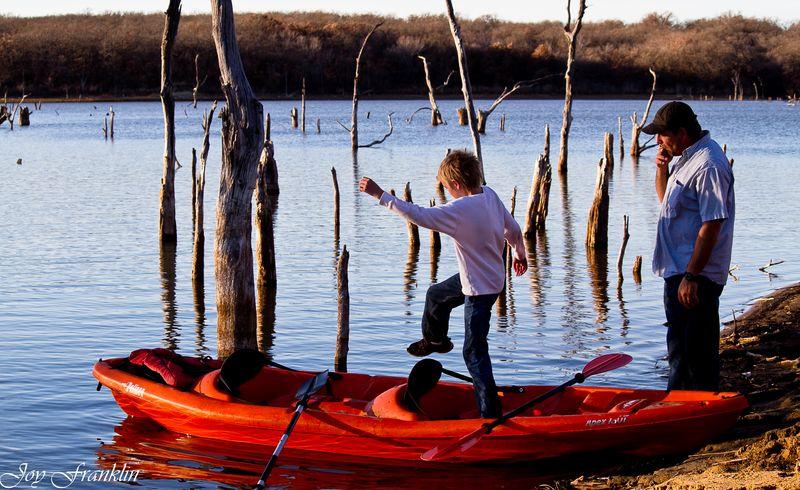 Justin getting into Kayak