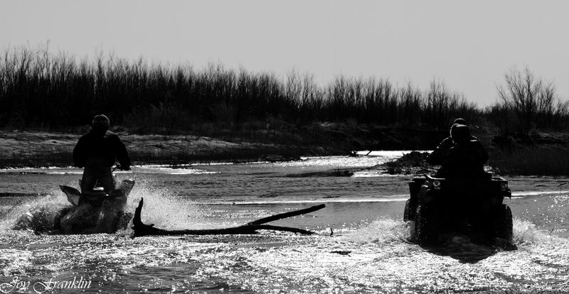 Four Wheeling the River in Black and White-130