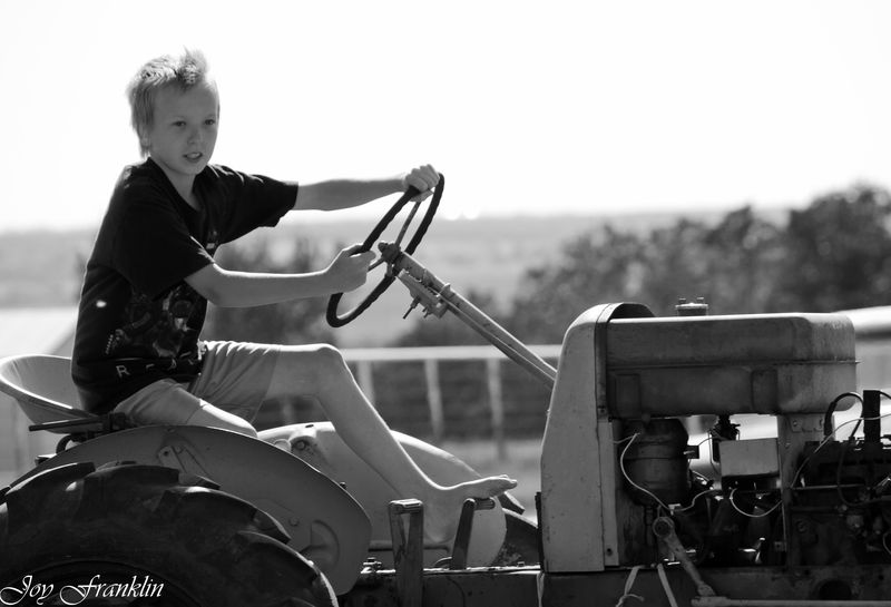 Justin driving the tractor  (1 of 1)