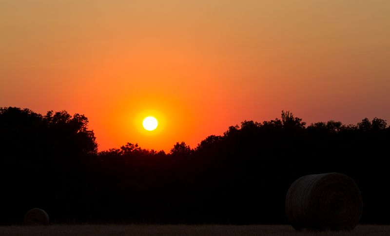Sunset on a hayfield between Hwy 76 and Baseline Road-5605