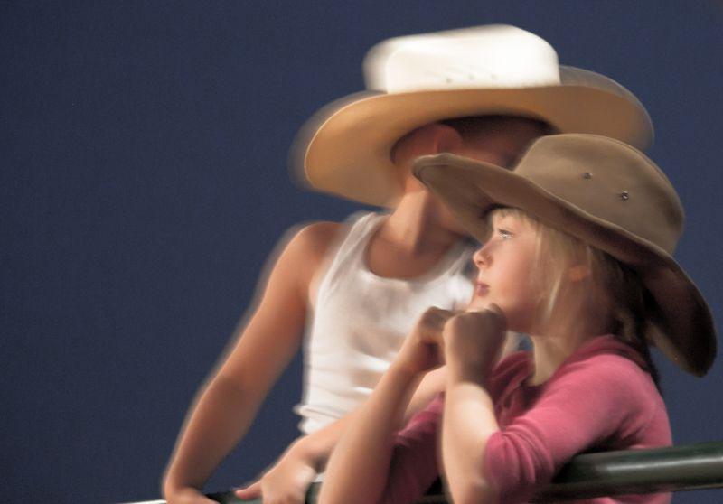 Kids watching Rodeo in Rush Springs-5270