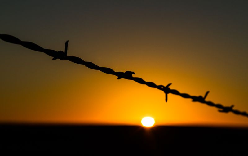 Sunset and barbed wire-6528