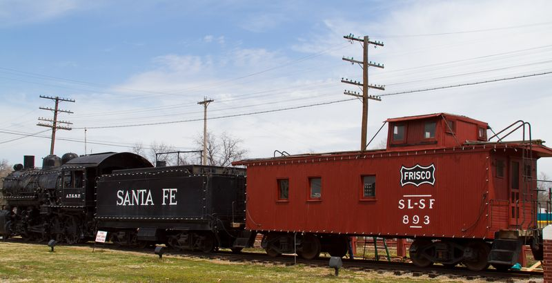 Old Santa Fe Frisco Train in Pauls Valley OK-8944