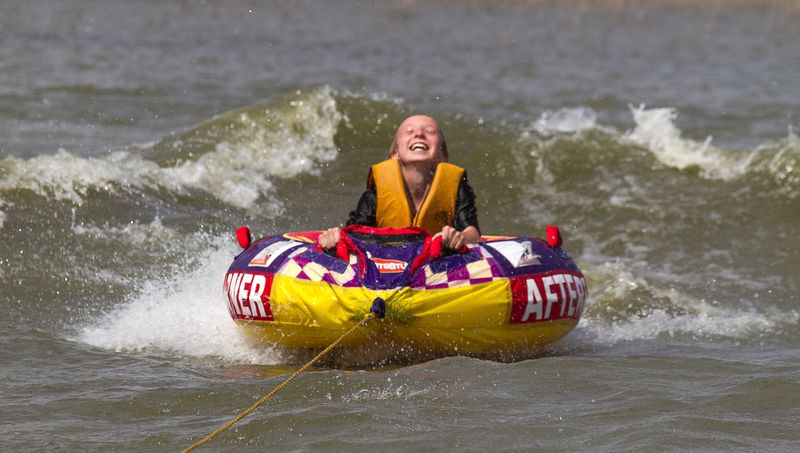 Justin Tubing Harlan County Lake in Nebraska-0499