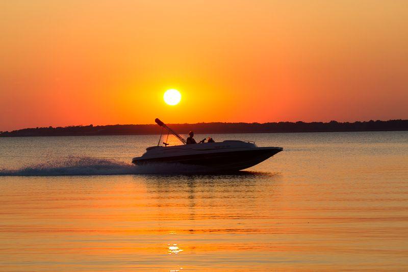 Boat on Harlan County Lake in Nebraska at Sunset-0017