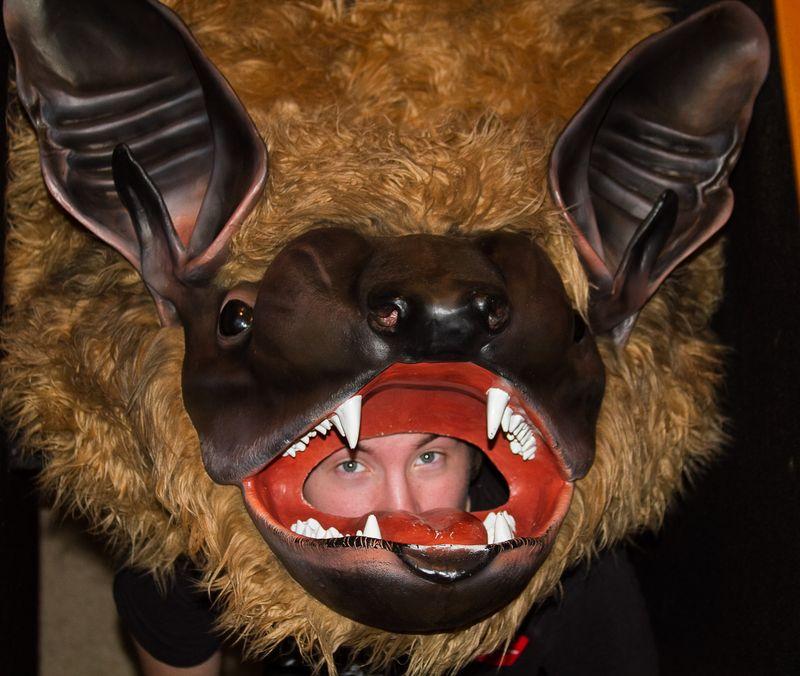 Rowan in the bat head at Hastings Museum -0234