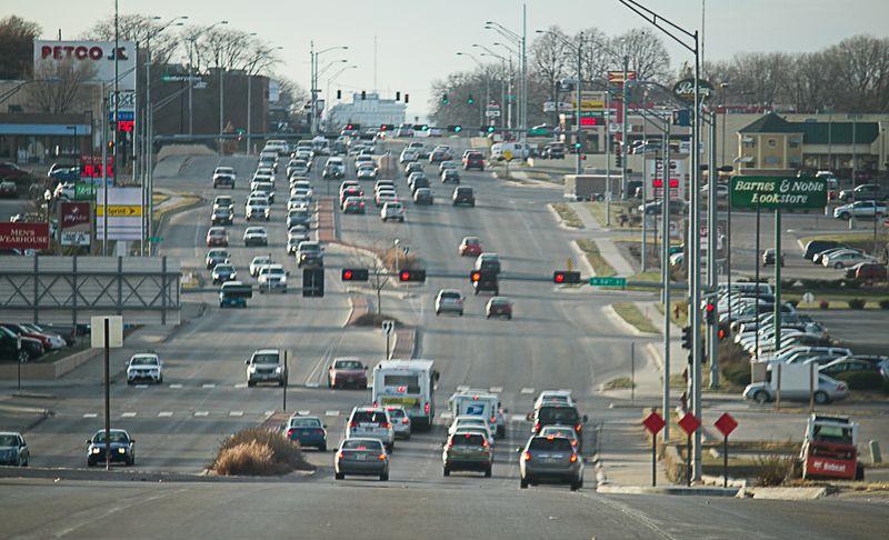 Traffic on O Street in Lincoln Nebraska -6658