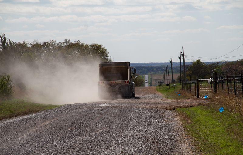 Karla Sharp's Well Site  Monday April 14th gravel trucks-2082