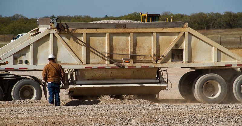 Karla Sharp's Well Site  Monday April 14th gravel trucks-2073
