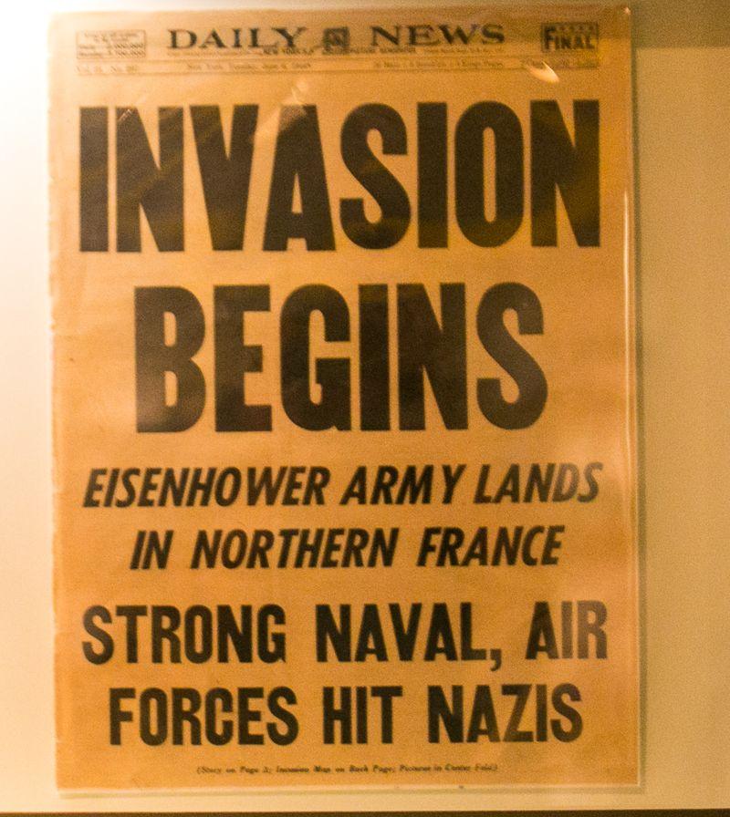 20140602-IMG_1797Joy FranklinDDay Invasion Newspaper headlines- Eisenhower Army Lands in Northern France