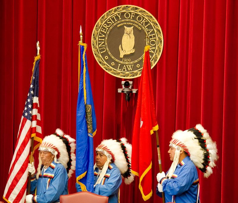 Cheyenne and Arapaho Color Guard at OU College of Law 2014-8739