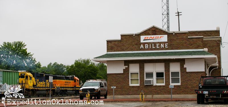 6-2-2014 Flint Hills and Abilene Kansas  WM BNSF train depot with train going by-1693