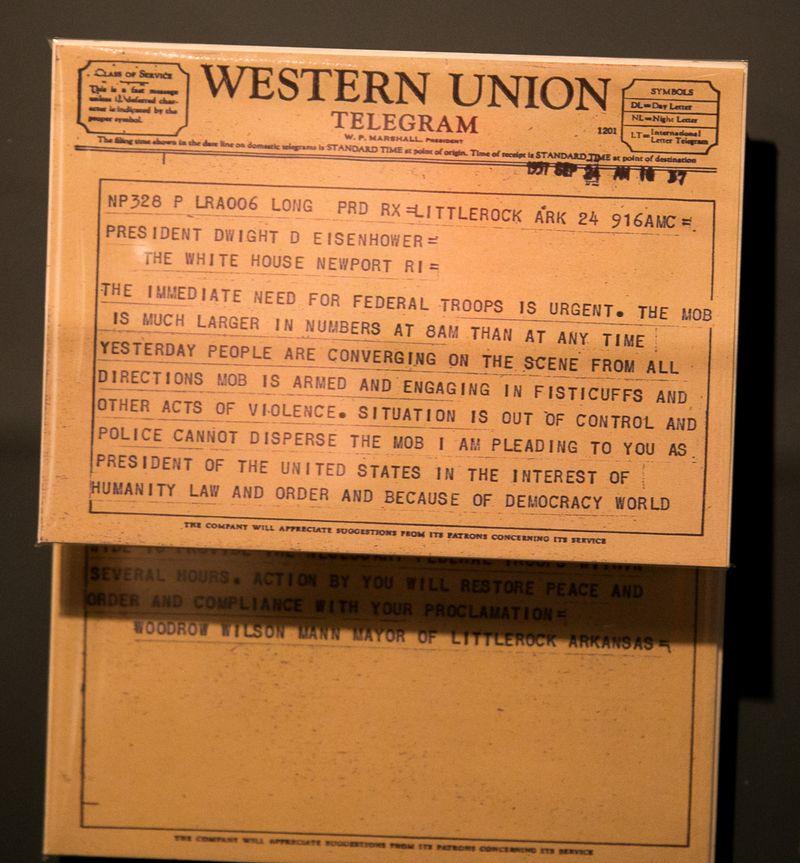 20140602-IMG_1852Joy FranklinTelegram from Mayor of Little Rock asking Eisenhower for help