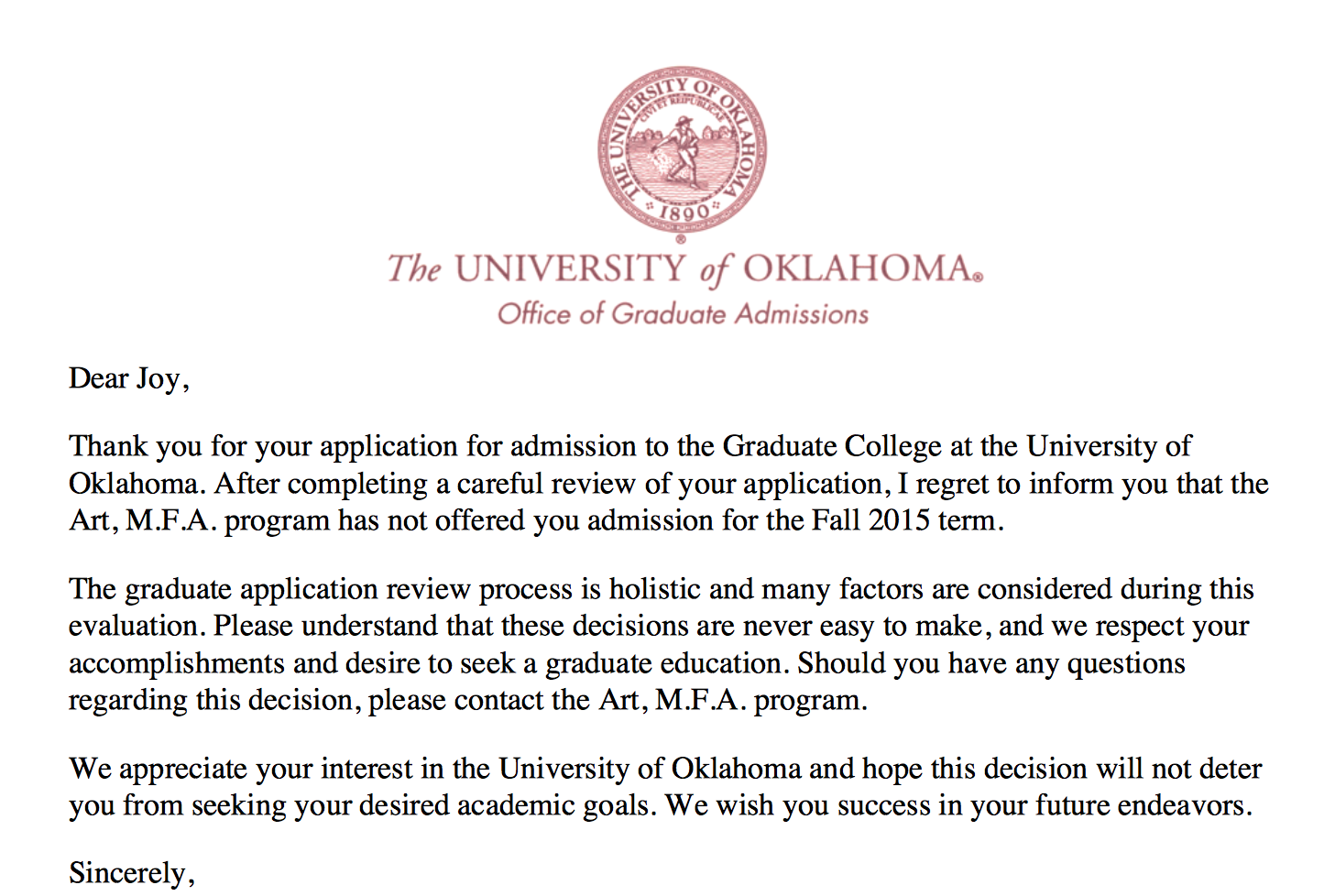A rejection letter expedition oklahoma screen shot 2015 03 13 at 105257 pm altavistaventures Images