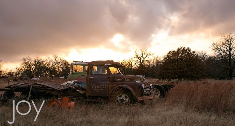 Old Dodge in the field at sunset-7437